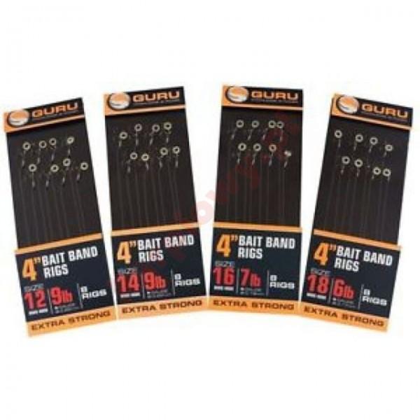 """Gotowe przypony - bait bands 4"""" Size 16 QM1 x 8 (0,17mm)"""