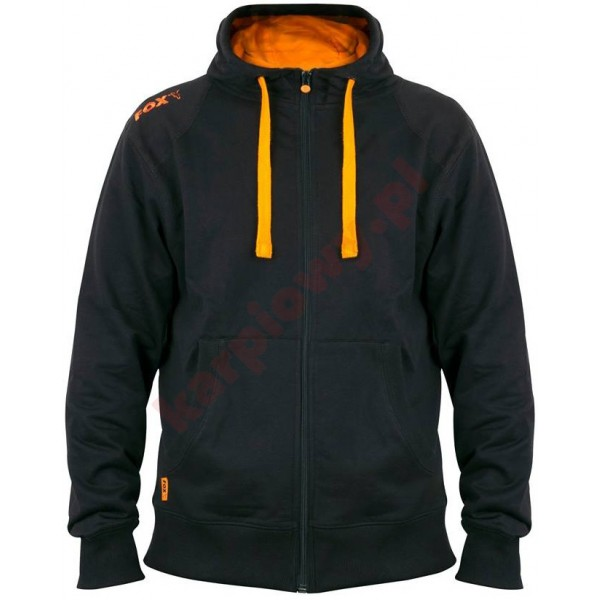 Black & Orange Lightweight Zipped Hoody - Large