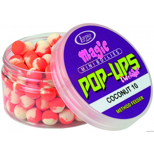 KULKI PROTEINOWE LORPIO MINI BOILIES POP-UPS COCONUT TWO-COLOR 8mm